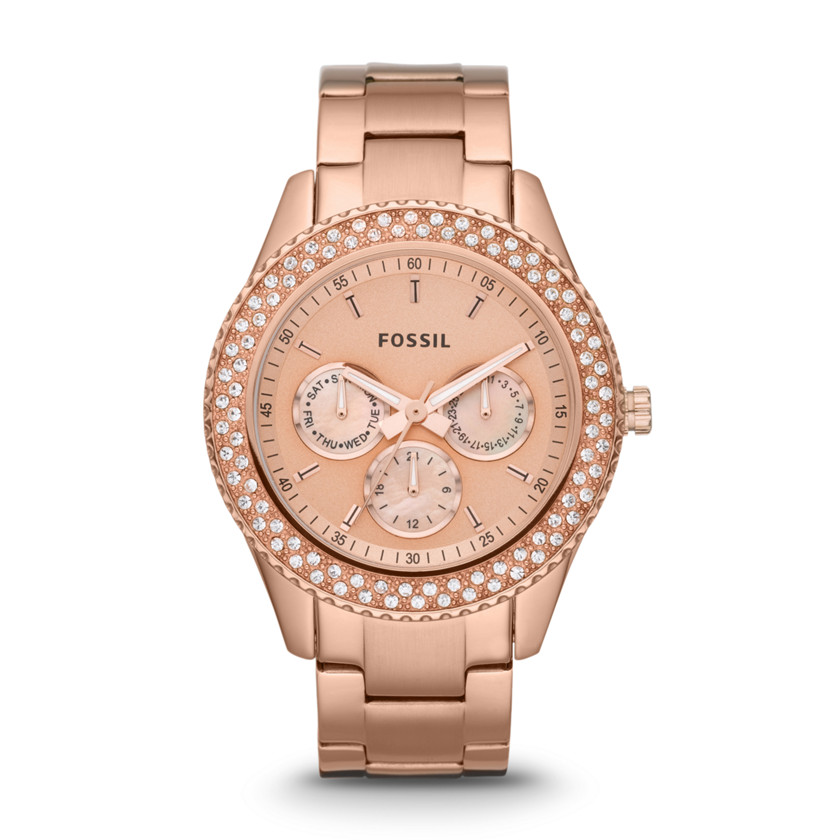 fossil stella multifunction stainless steel watch rose. Black Bedroom Furniture Sets. Home Design Ideas