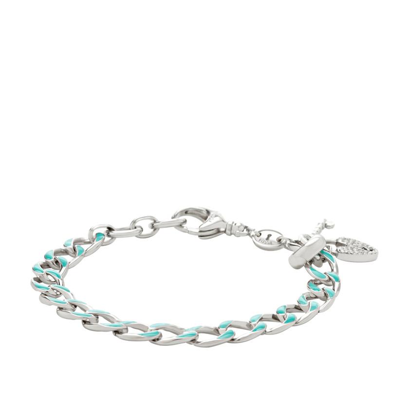 fossil enamel link charm starter bracelet turquoise