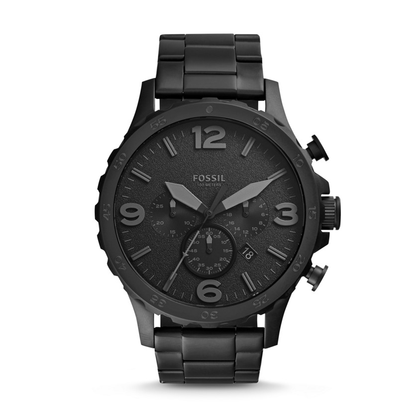 fossil nate chronograph stainless steel watch black jr1401 fossil. Black Bedroom Furniture Sets. Home Design Ideas