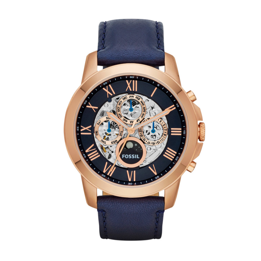 fossil grant automatic leather watch blue me3029 fossil. Black Bedroom Furniture Sets. Home Design Ideas