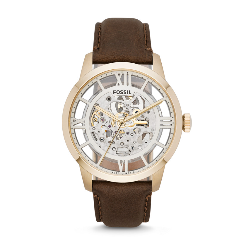 fossil townsman automatic leather brown me3043